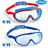 Elimoons Kids Swim Goggles, 2-Pack Wide Vision Swimming Glasses for Children and Early Teens from 5 to 15 Years Old, Wide Vis