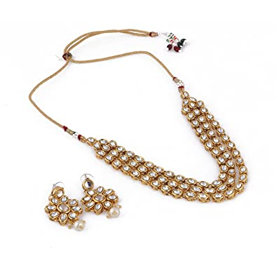 3d800f70b6 Aradhya Kundan Gold Plated Necklace Set for Women: Amazon.in: Jewellery