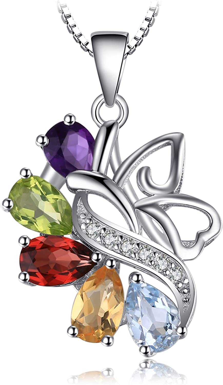 JewelryPalace Colgante mariposa 4.8ct Amatista Citrino Granate Peridoto Azul Cielo Topacio Collar Plata de ley 925 cadena de caja 45cm