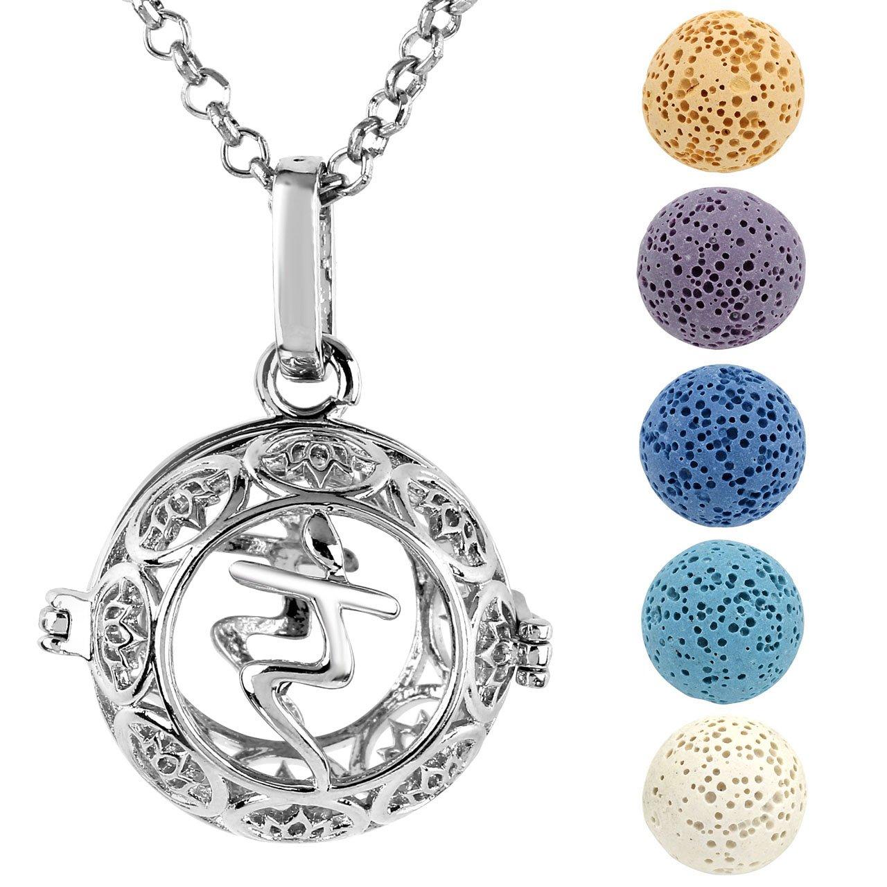 JOVIVI Aromatherapie Kette Ätherische Öle Parfum Diffusor Medaillon Halskette Chakra Sanskrit Ram Locket Käfig Anhänger mit 5X Lavasteine