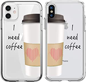Shark Compatible Transparent! I Need Coffee Edition Matching Couple Cases for iPhone 11 Pro Max