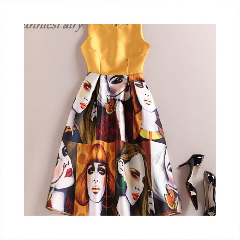 8 Women Vintage Retro Flower Floral Print Vest Dresses Sleeveless ONeck