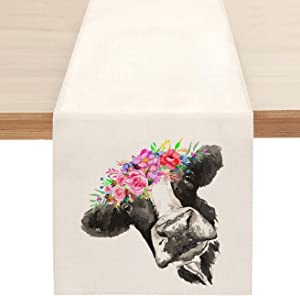 Sambosk Spring Cow Table Runner, Summer Floral Crown Farmhouse Table Runners for Kitchen Dining Coffee or Indoor and Outdoor Home Parties Decor 13 x 72 Inches