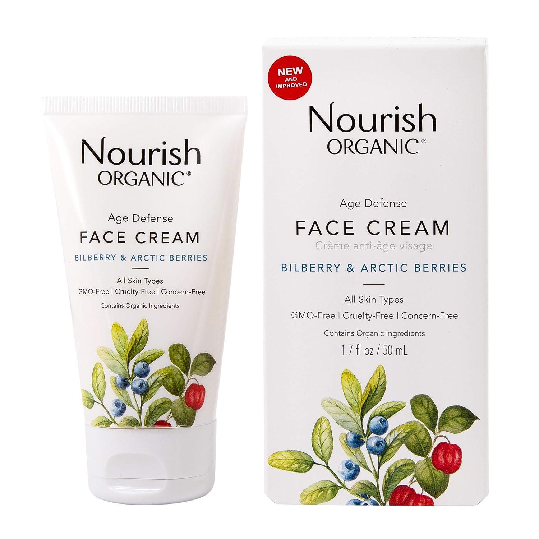 Nourish Organic   Age Defense Face Cream - Bilberry & Arctic Berries   GMO-Free, Cruelty Free, Fragrance Free (1.7oz)