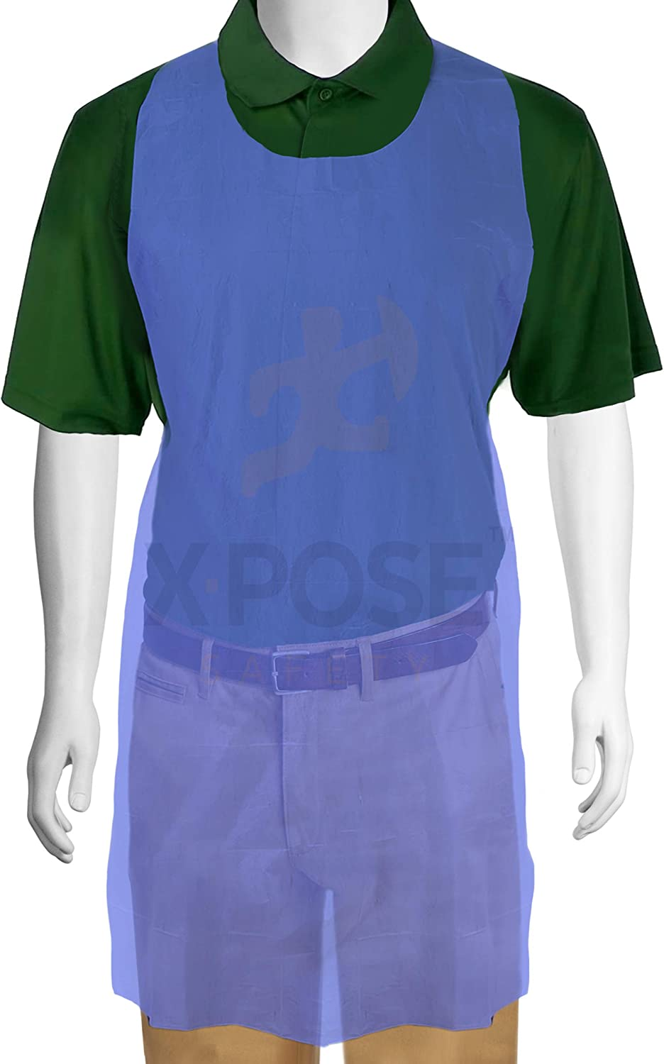 """100 Blue Plastic Disposable Aprons For Cooking, Painting and More - Individually Packaged - Durable 1 mil Waterproof Polyethylene - 24"""" x 48"""" - by Xpose Safety"""