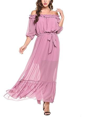 56abd7723574d Zeagoo Women Three Quarter Sleeve Off Shoulder Ruffles Split Chiffon  Wedding Party Long Dress
