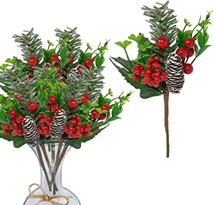 BANBERRY DESIGNS Berry Picks Set of 12 Christmas Pine Cone and Red Berry Floral Pics Artificial Holiday Flowers