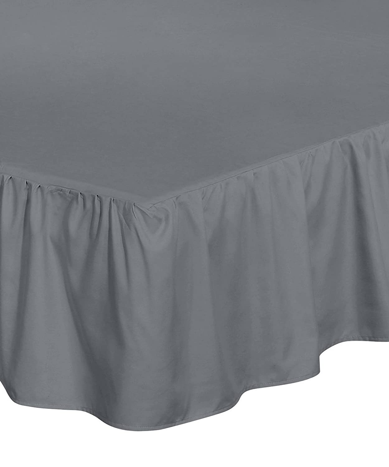 Bed Ruffle Skirt (Full, Black) Brushed Microfiber Bed Wrap with Platform - Easy Fit Gathered Style 3 Sided Coverage by Utopia Bedding