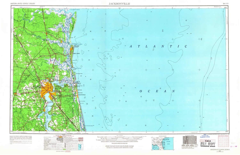 Amazon.com : YellowMaps Jacksonville FL topo map, 1:250000 Scale, 1 ...