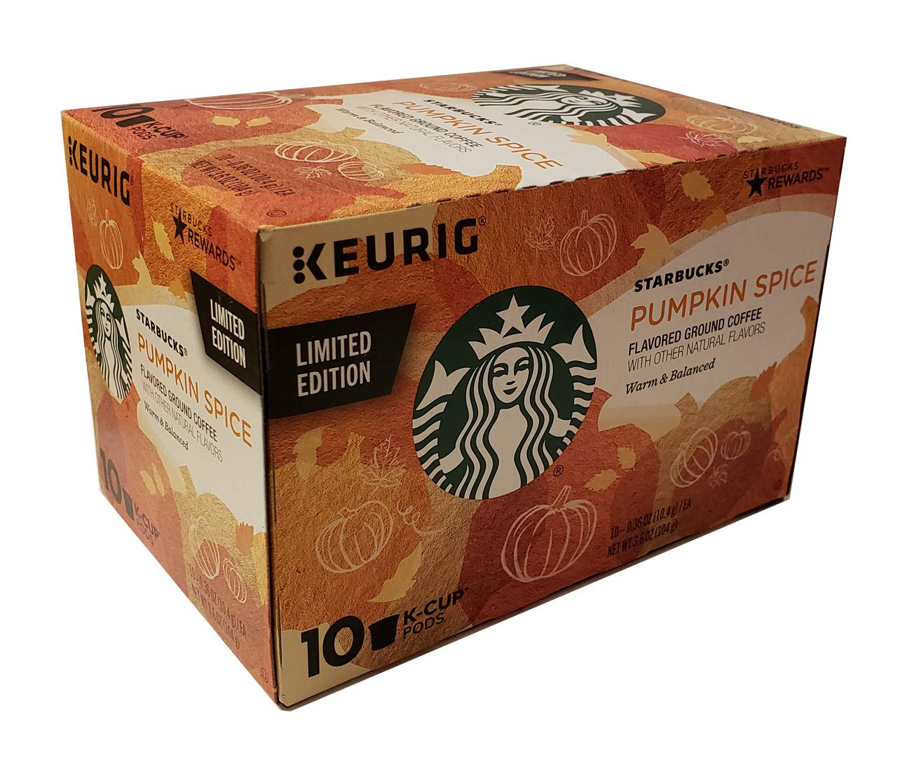 Starbucks Pumpkin Spice Flavored Ground Coffee 1 box of 10 K-Cup Single Serve Pods, 1 box of 10
