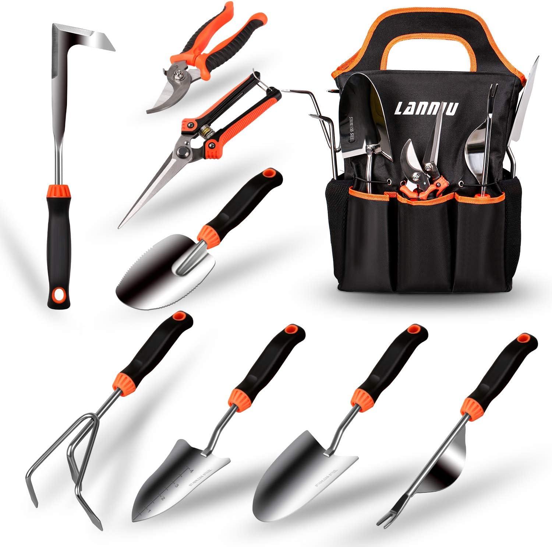 LANNIU Garden Tool Set, 9 Piece Stainless Steel Heavy Duty Gardening Tool Set, with Non-Slip Rubber Grip, Storage Pocket, Ideal Garden Tool Kit Gift for Women/Parent