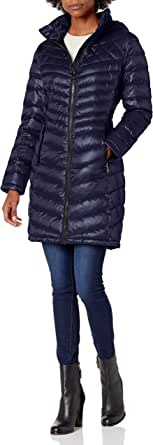 Calvin Klein Women's Walker Packable Jacket with Hood and Stand Collar