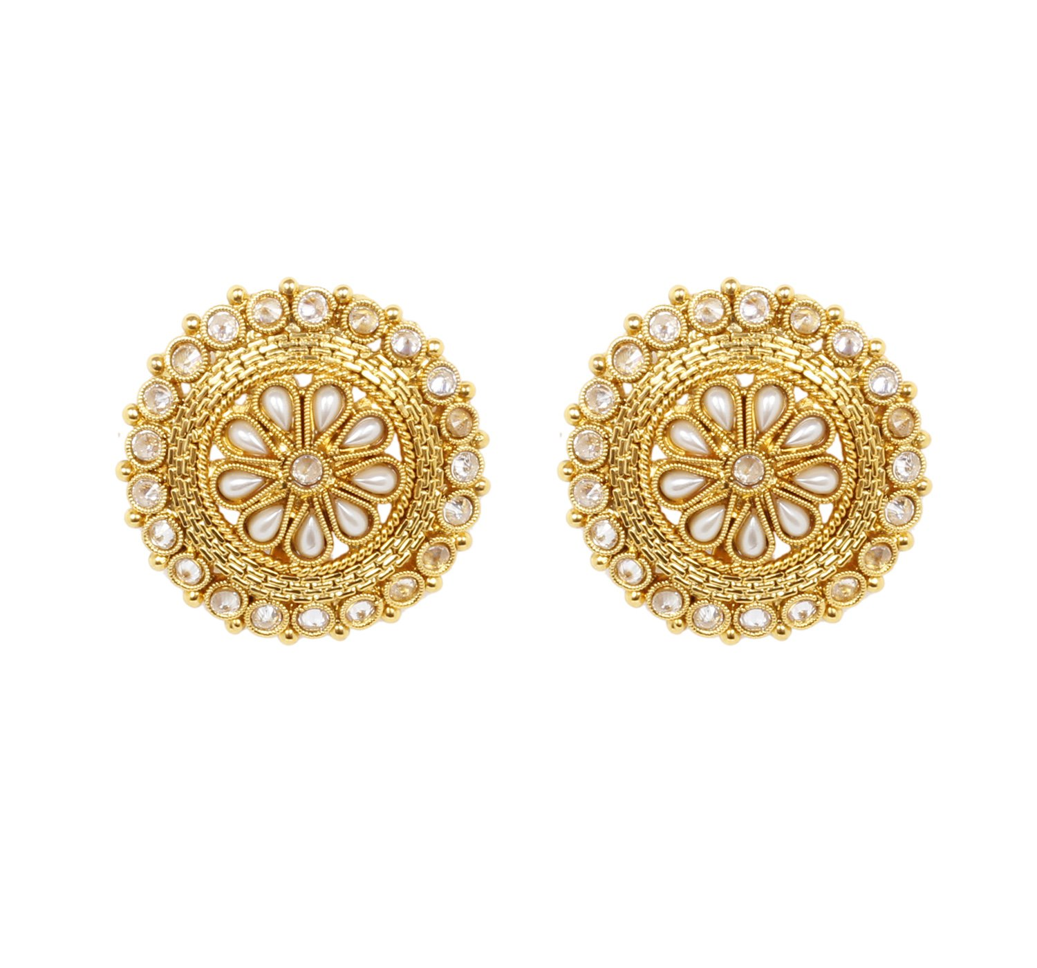Ratna Indian Ethnic Traditional Bollywood Antique Gold Plated Pearl Polki Earrings Stud Tops Partywear Jewelry