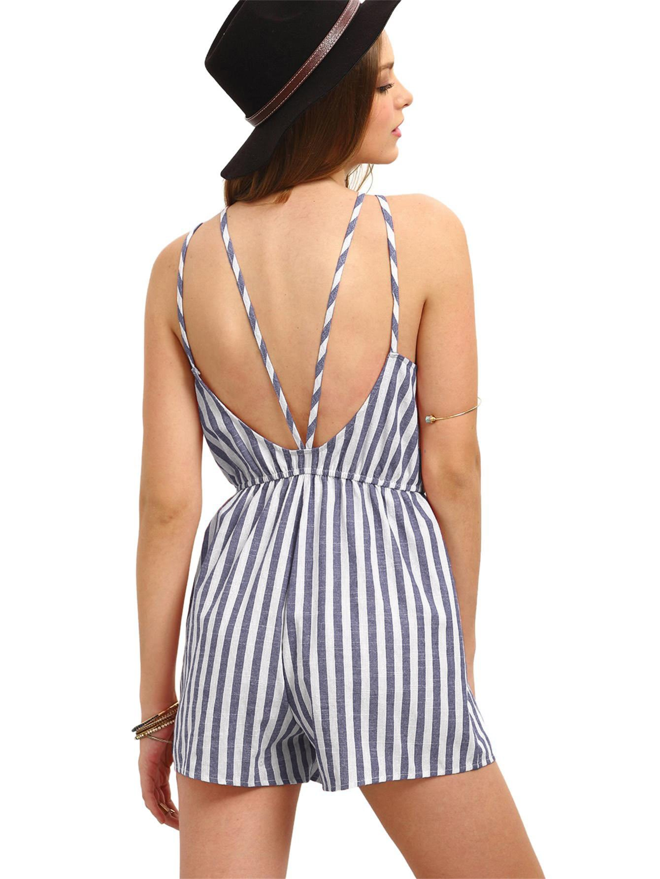 Romwe Women's Casual Striped Sleeveless Halter Sexy Short Romper Jumpsuit Navy XS by Romwe (Image #4)