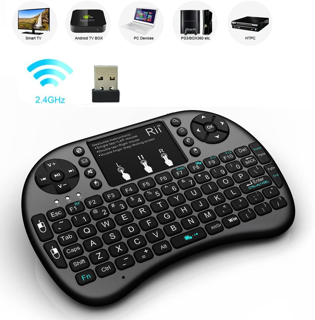 Rii i8 Mini Wireless Keyboard and Mouse Combo Remote Windows 7 8 10 HTPC//IPTV LED Backlit Mini Wireless Touch Keyboard Compatible with Raspberry Pi 2//3,Android TV Box