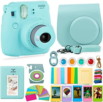 FujiFilm Instax Mini 9 Camera and Accessories Bundle Instant Camera, Carrying Case, Color Filters, Photo Album, Stickers, Selfie Lens + More (Ice
