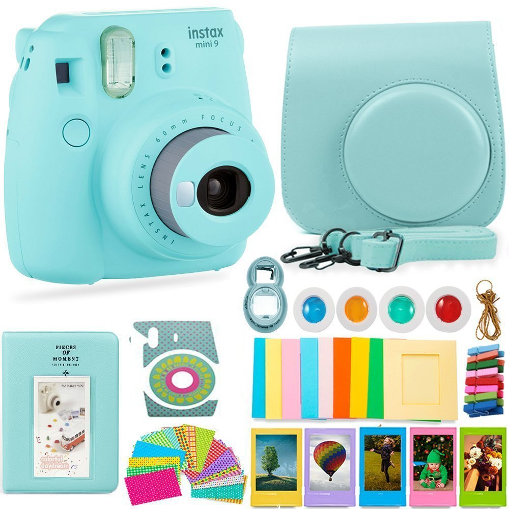 FujiFilm Instax Mini 9 Camera and Accessories Bundle - Instant Camera, Carrying Case, Color Filters, Photo Album, Stickers, Selfie Lens + MORE (Ice Blue) by Deals Number One