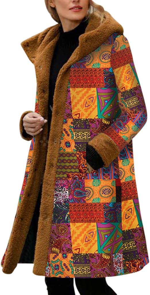 Smileyth Women Hooded Long Coat Fashion Vintage Print Fleece Patchwork Long Sleeve Winter Warm Comfortable Button-Down Plus Size Casual Loose Outwear Overcoat