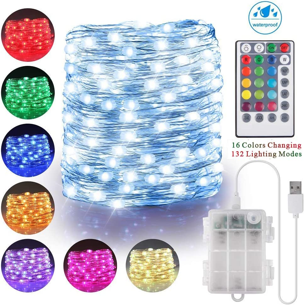 100 LED String Lights Battery Operated & USB Powered, 33ft 16 Colors Waterproof Fairy Lights with Remote Control Timer Christmas Lights for Bedroom Dorm Garden Patio Wedding Party Decor(132 Modes)