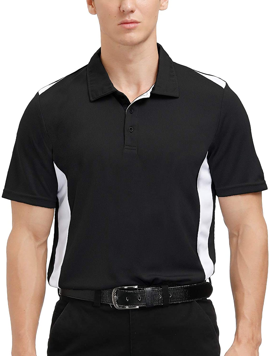 MOHEEN Men's Short Sleeve Polo Shirt Moisture Wicking Performance Classic Cut Athletic Casual Golf Shirts: Clothing