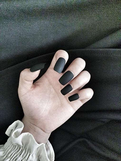 Uñas postizas de Mobray, 24 piezas de uñas postizas mate de cobertura completa, color negro y rojo esmerilado, uñas falsas para niñas con patrón de diseño: ...