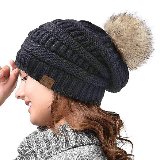 Fasker Women Winter Pom Pom Beanie Hat Warm Cable Knit Slouchy CC ... 829ef9178dd