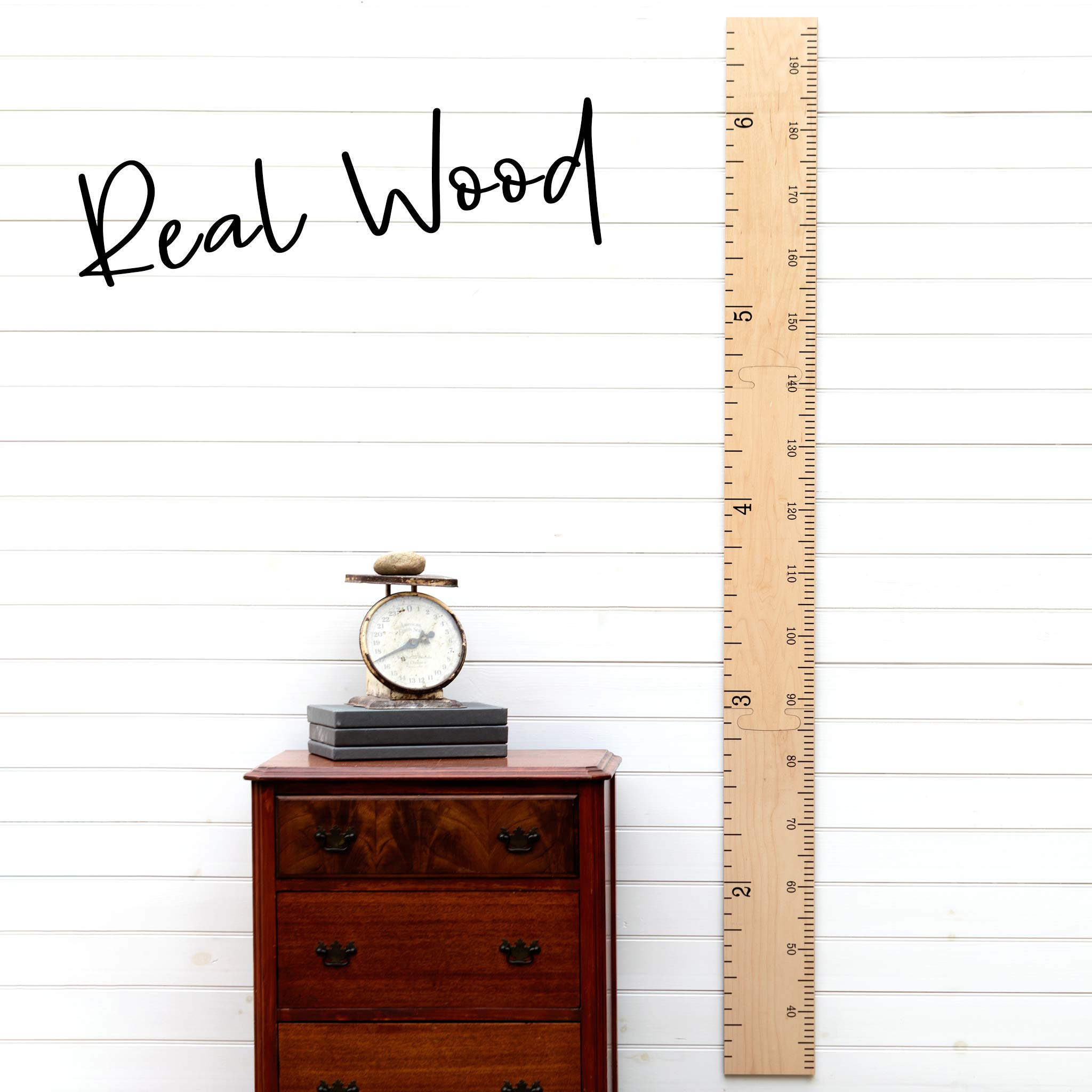Growth Chart Art   Wooden Growth Chart Ruler for Boys + Girls   Growth Chart Ruler Kids Height Chart   Naked Birch Schoolhouse Ruler with Inches/Centimeters by Growth Chart Art