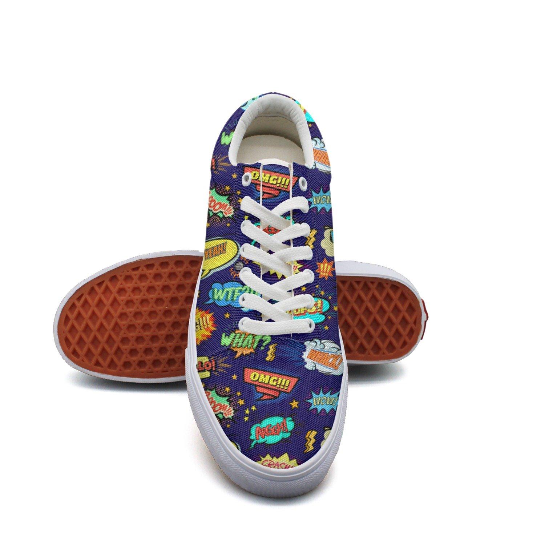 Dark Blue Comic Bubbles Lace up Sneakers Canvas Skate Shoes Women Fashion
