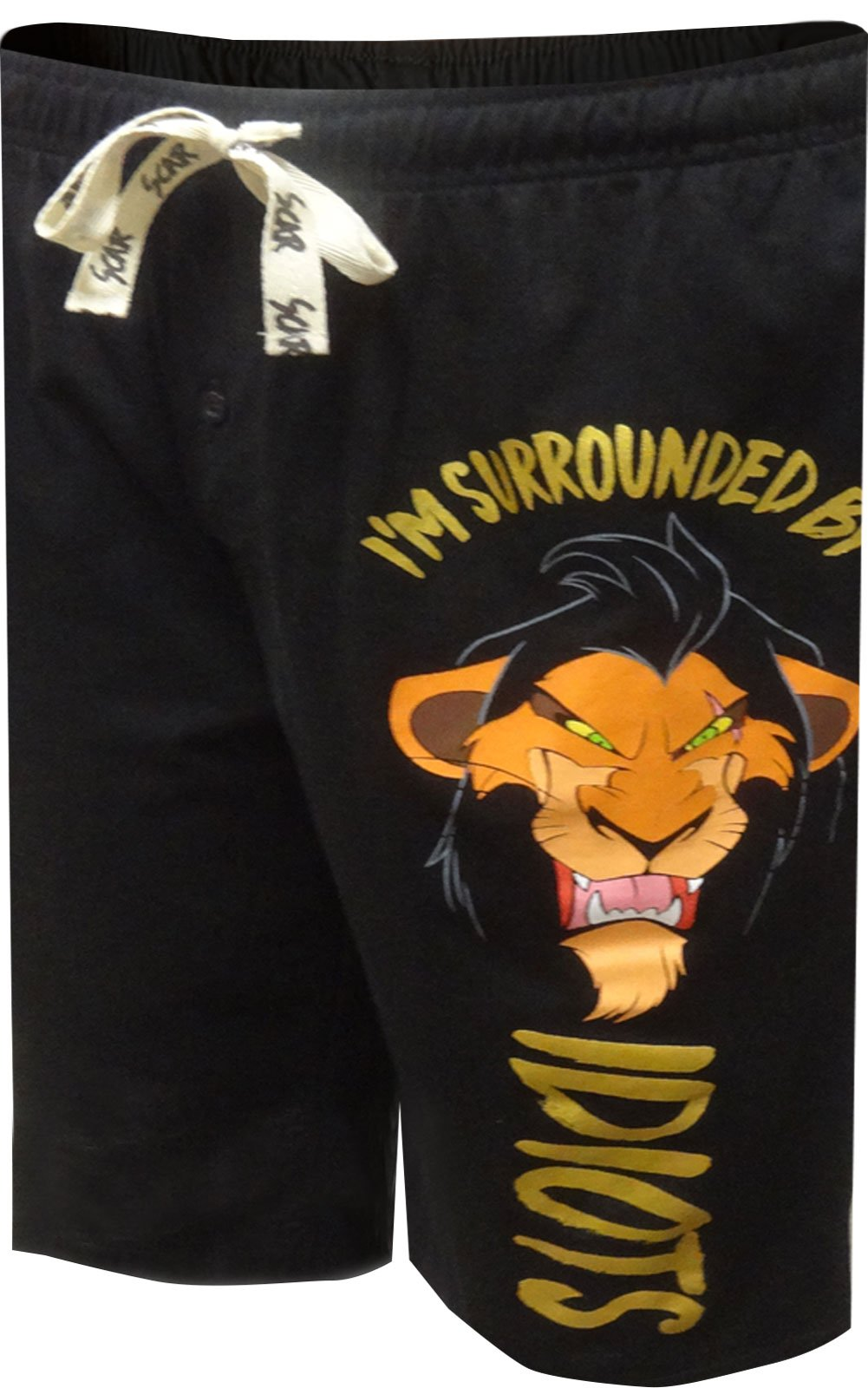 Disney Men's Lion King Scar Surrounded by Idiots Lounge Shorts (Large)