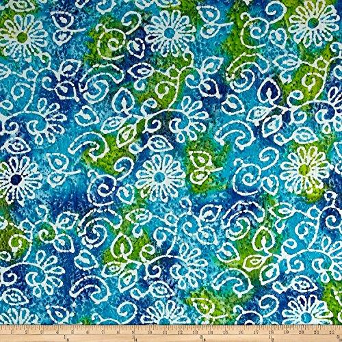 Indian Batik Crinkle Cotton Print Floral Scroll Blue Green (Fabric Blue Green)