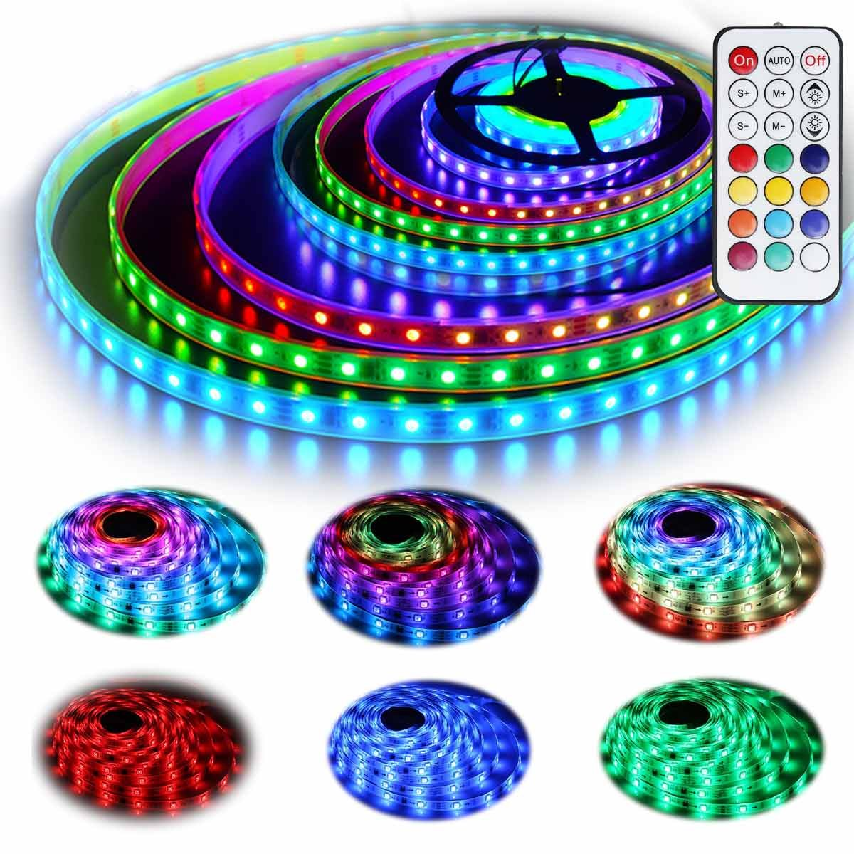 G GEEKEEP 12V RGB LED Strip Lights Kit, Geekeep Addressable Dream Color LED Lighting with Chasing Effect,Waterproof Neonpixel Led Flexible Tape Light with RF Remote Controller (5M/16.4ft)