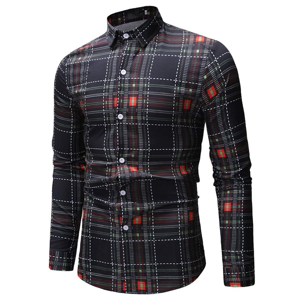 kingfansion Design Print Dress Shirt Long Sleeve Hawaiian Tropical Party Button Down Shirt