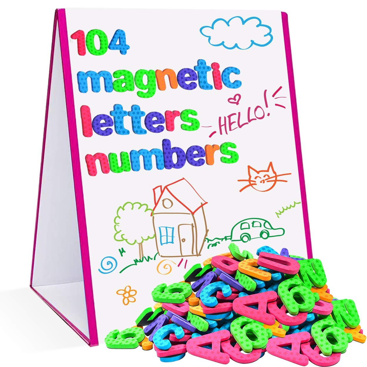 Star Right Magnetic Letters & Numbers with Easel for Kids - Educational Alphabet Magnets for Learning -Includes 104 Magnets with 1 Dry Erase Magnetic Easel - Learning Toys for 4+ Year Olds by Star Right