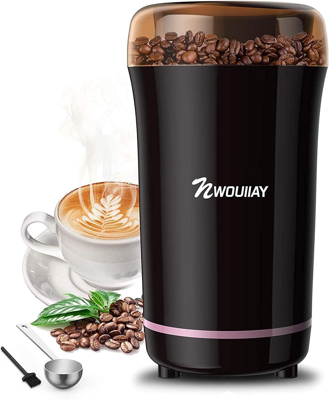 NWOUIIAY Molinillo de Café Eléctrico 300W Molinillos de Especias Semillas Frutos Secos con Cuch...