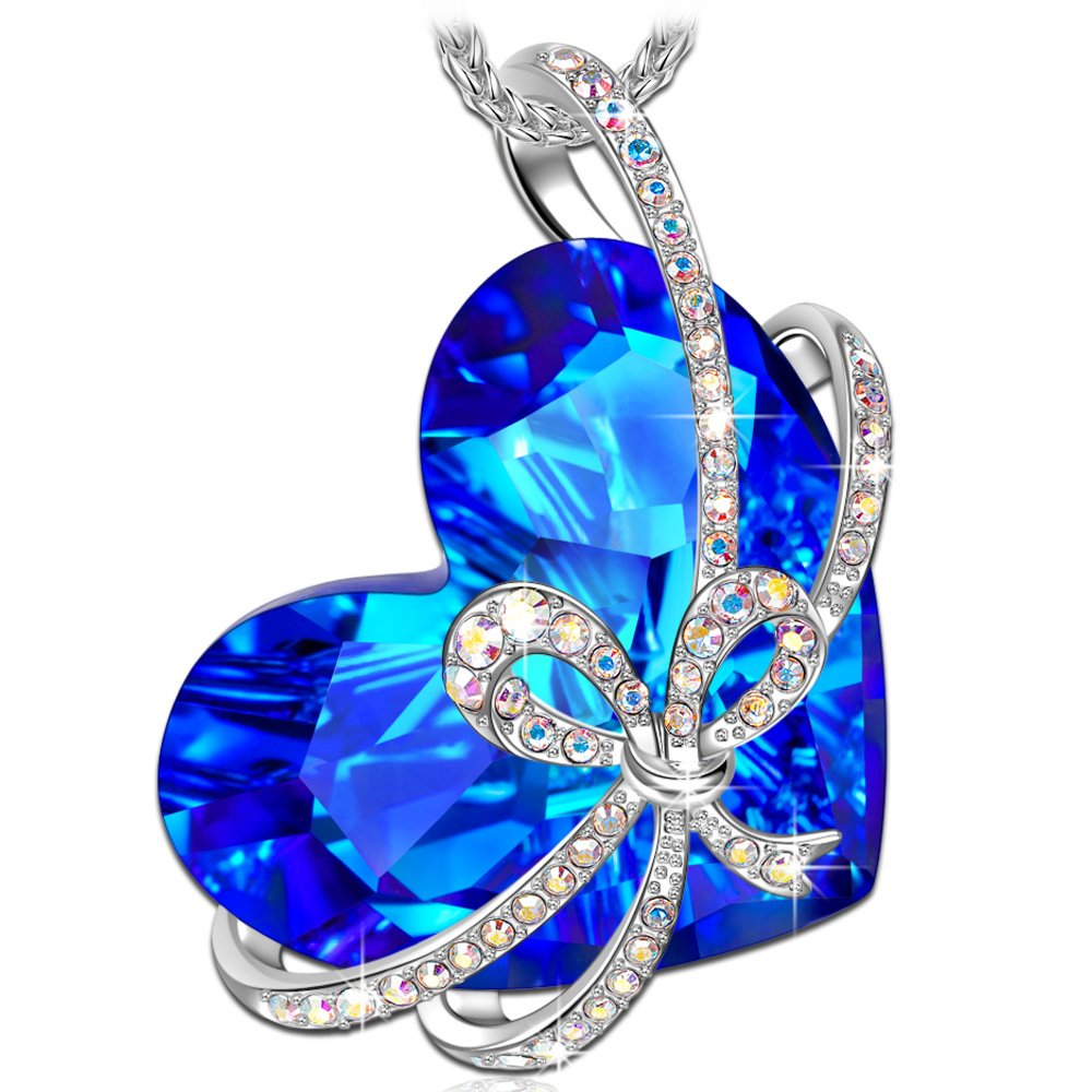 QIANSE Heart of Ocean 925 Sterling Silver Necklace Made with Swarovski Crystals Fine Jewelry [Gift Packing]- Once in a lifetime gift! QIANSE JEWELRY NSG05646BW