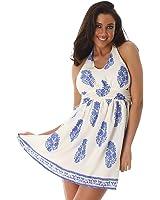 Minikleid Freizeitkleid Sommerkleid Ärmellos Strandkleid Rundhals Ausschnitt Neckholder Blumendruck Kleidchen Kurz Sommer Damen
