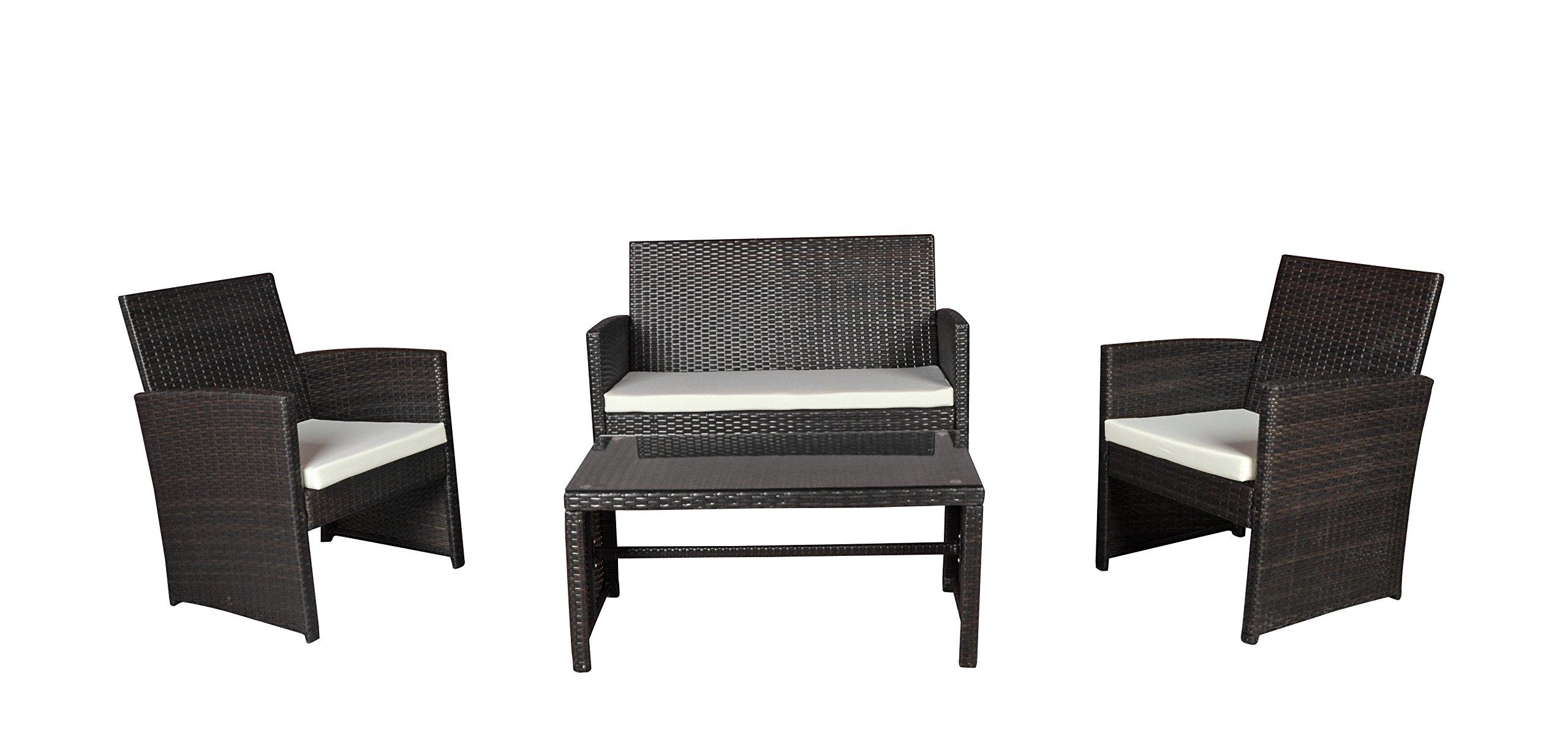 Modern Outdoor Garden, Patio 4 Piece Seat - Wicker Sofa Furniture Set (Brown)