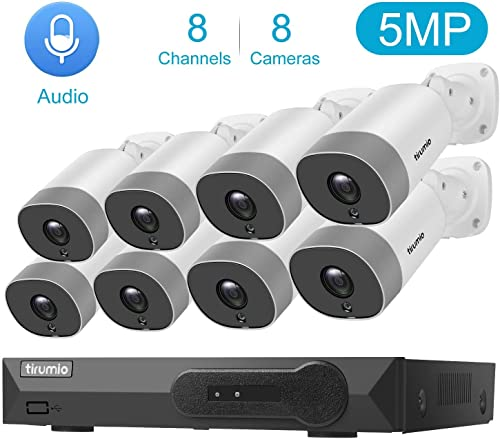 PoE Security Camera System,TIRUMIO 8CH 5MP 2.5x1080P Wired Home Surveillance PoE NVR System
