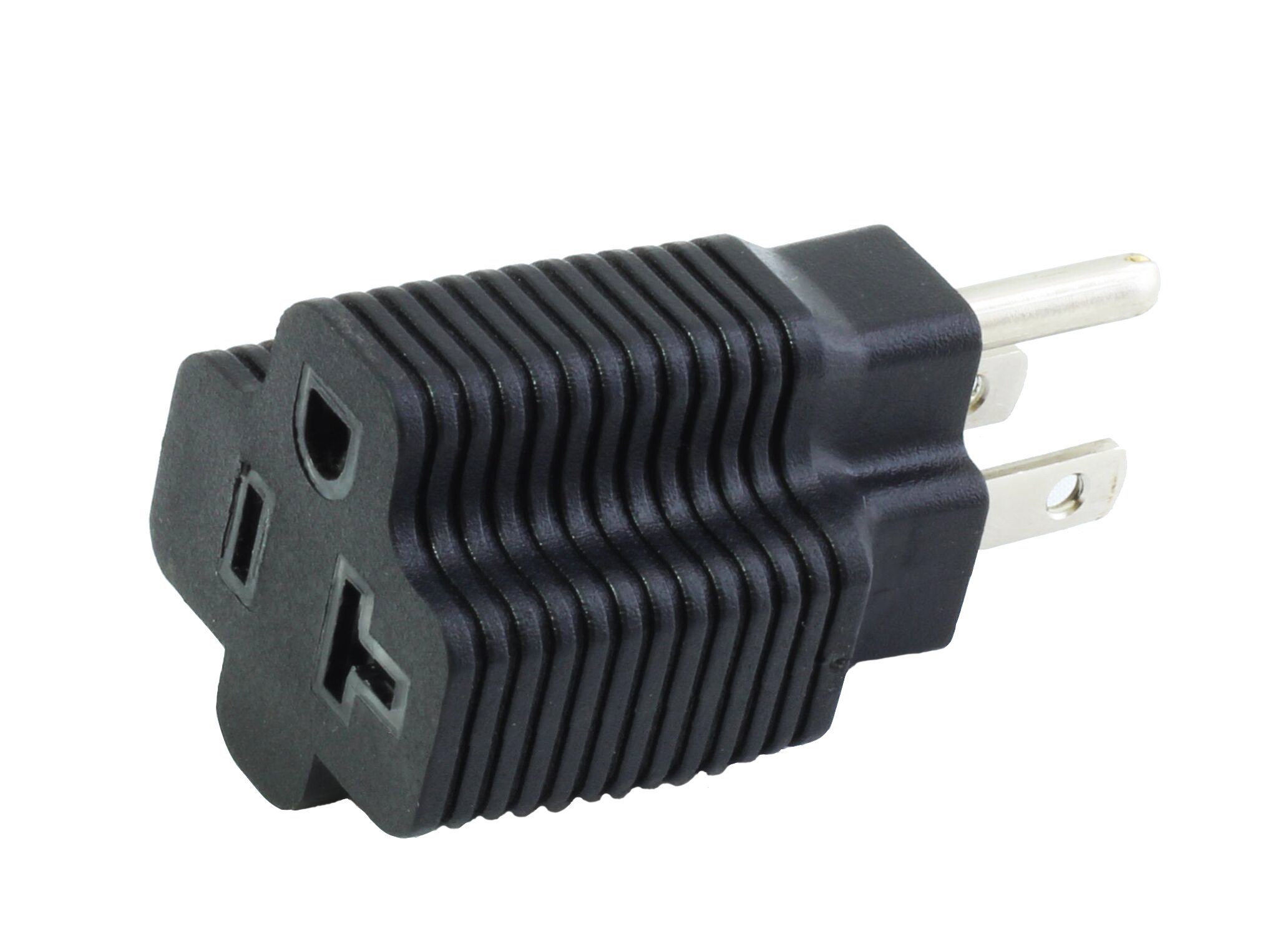 AC WORKS 3PK 15 Amp Household Male Plug to 20 Amp T-Blade Female Adapter