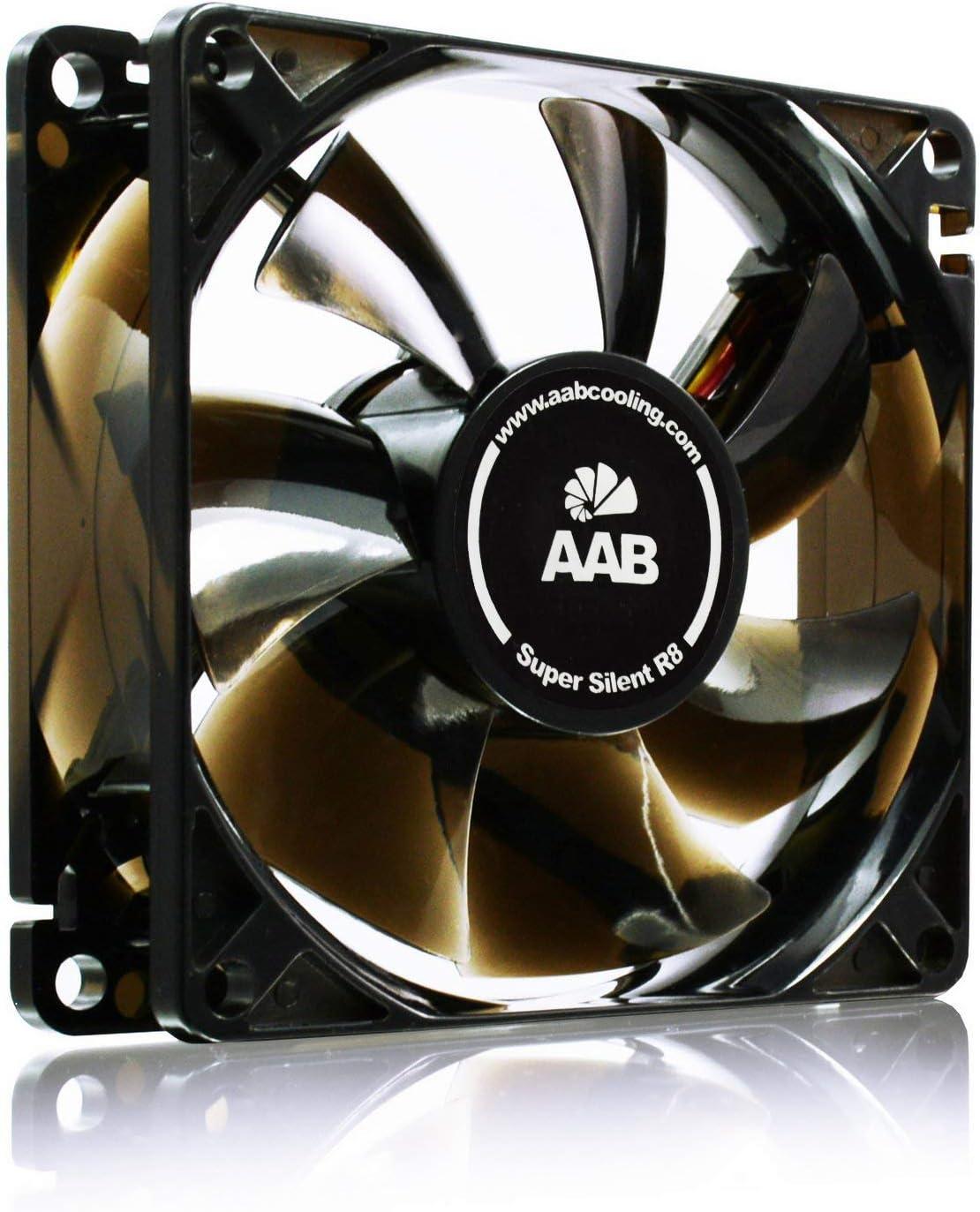 AAB Cooling Super Silent R8 - Un Silencioso y Muy Efectivo Ventilador 80mm con Adaptador de Bajo Ruido, Fan PC, Ventilador 12V Coche, Ventilador de Portatil, 33-25 m3/h, 1600-1200 RPM