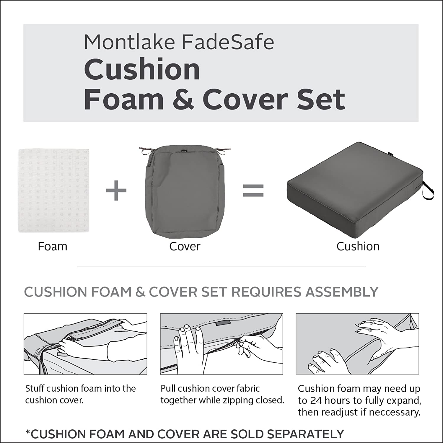 Classic Accessories Montlake Patio Seat Cushion Slip Cover, Light Charcoal, 25x25x5