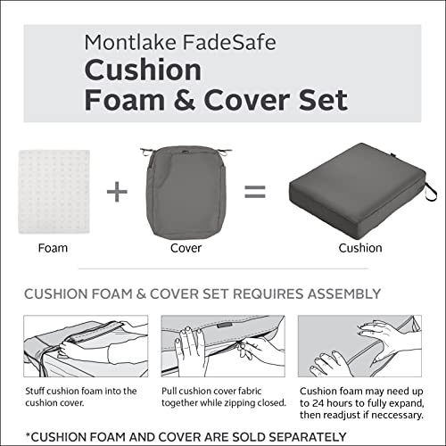 Classic Accessories Montlake Water-Resistant 25 x 25 x 5 Inch Patio Seat Cushion Slip Cover, Light Charcoal Grey