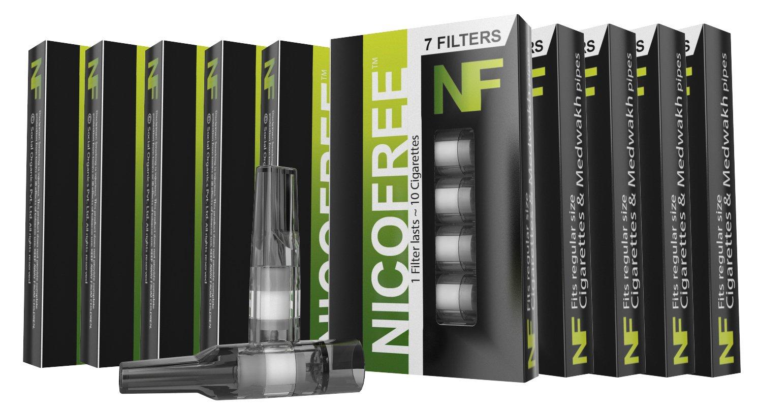 Nicofree Cigarette Filter (10 Packs = 70 filters = upto 700 Cigarette) For Cigarette / Dokha / Medwakh (BLACK)