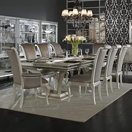 Hollywood Swank 9 Piece Trestle Dining Table and Chair Set By Aico Amini & Amazon.com - Hollywood Swank 9 Piece Trestle Dining Table and Chair ...