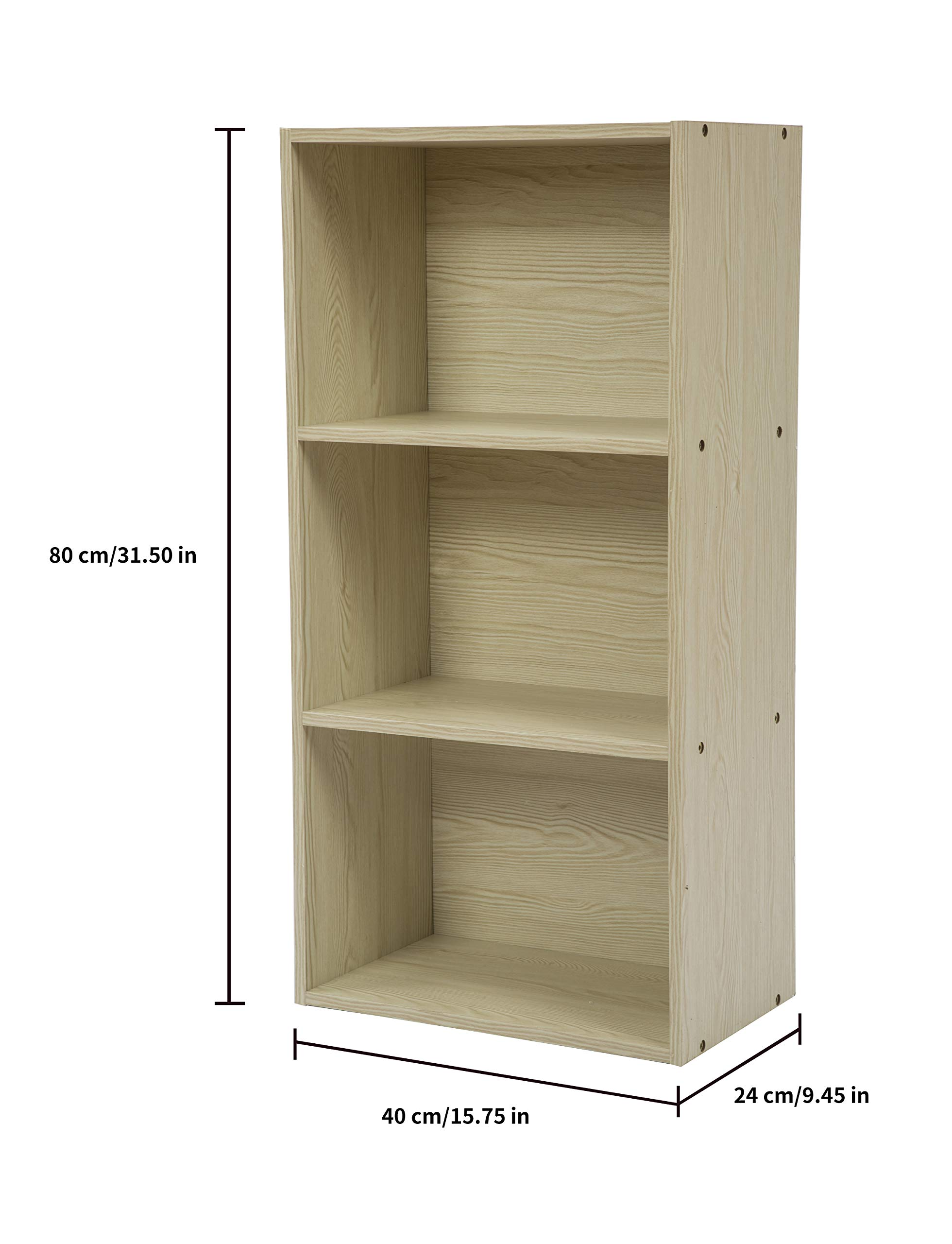 JEROAL 3-Shelf Wooden Bookshelf, 3 Cube Storage Organizer, Display Bookshelf Storage Organizer for Books, Pictures, Decorations, White Oak by JEROAL (Image #4)