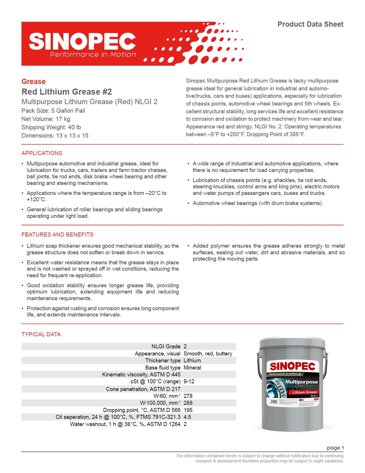 Sinopec Red Multipurpose Lithium Grease #2-35LB. (5 Gallon) Pail (12) by Sinopec (Image #3)