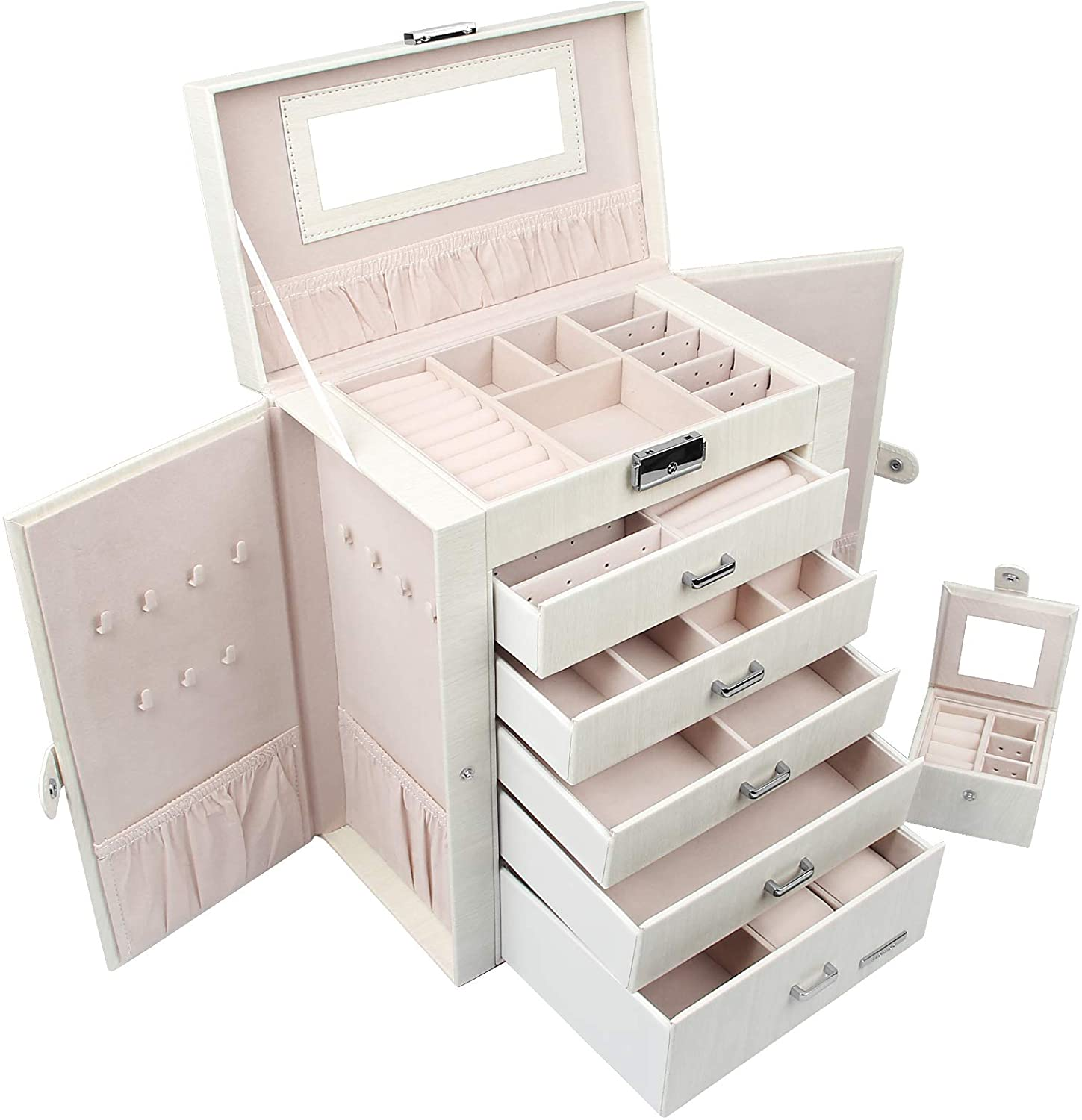 Homde 2 in 1 Huge Jewelry Box//Organizer//Case Faux Leather with Small Travel Case Gift for Girls or Women White Wood Grain