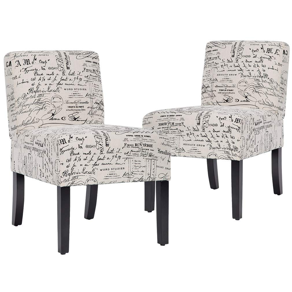 Accent Chair Armless Chair Dining Chair Set of 2 Elegant Design Modern Fabric Living Room Chairs Sofa by BestMassage