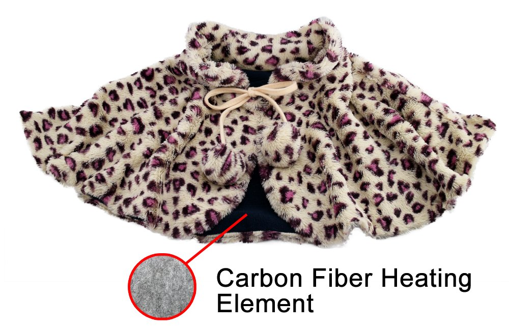 ObboMed MH-1220 Far Infra-red Carbon Fiber Heated Neck and Shoulder Warming Shawl Wrap 12V, 20 watts, 2-level heat,removable Washable Velour, Wavelength 8-15 μm (Health range 4-14 μm), Leopard Print by OBBO MED