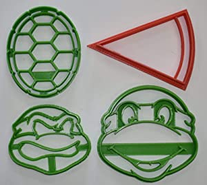 TEENAGE MUTANT NINJA TURTLES TMNT KIDS MOVIE CARTOON CHARACTERS SHELL PIZZA SET OF 4 SPECIAL OCCASION COOKIE CUTTERS BAKING TOOL 3D PRINTED MADE IN USA PR1072
